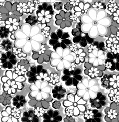 Black and White Overprint Flower Art Pattern