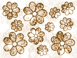 Brown Faded Flower Grunge Pattern