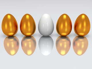 White egg in a row of golden eggs. 3D.