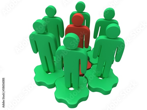 Teamwork. Group of stylized people stand on gears.