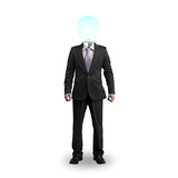 Lighting bulb head businessman standing and isolated in white