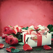 fresh red roses and gift box