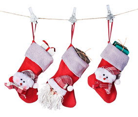 Christmas socks with gifts hanging