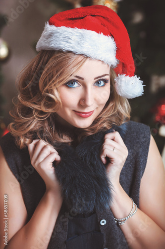 Christmas Woman in Santa Hat