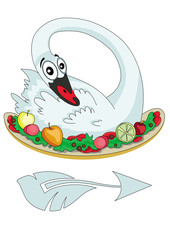 Swan with fruit on a platter