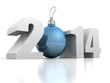 happy new year 2014 numbers and blue cristmas tree ball