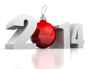 happy new year 2014 numbers and red cristmas tree ball