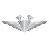 Vector metallic automotive motorcycle badge with wings