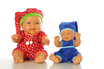 Baby dolls on white backgraund