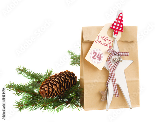 paper bag with present for 24 december