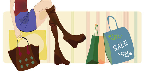 Vector of a Woman on Shopping with Bags and Boots