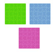 three color puzzle fields with rounded pieces in the corner on w