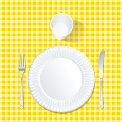 plate yellow tablecloth