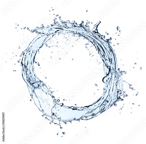 Water splash ring on white background