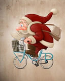 Fototapety Santa Claus rides the bicycle