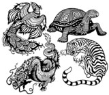 four celestial animals black white