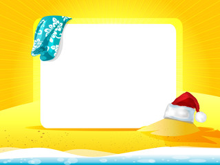 Sea landscape with towel and Christmas hat