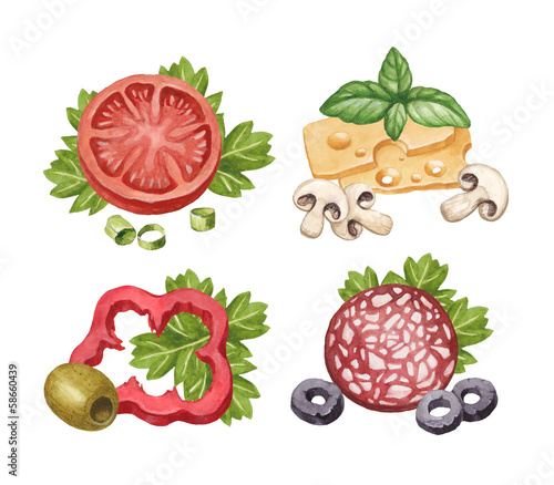 Watercolor illustration of food ingredients