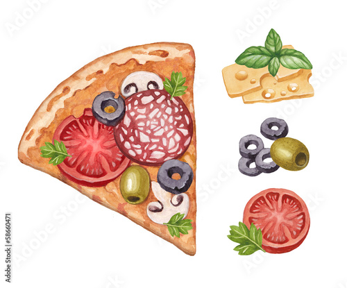 Watercolor illustration of pizza and ingredients