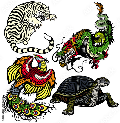set of four celestial feng shui animals
