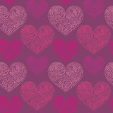 ornamental lace hearts seamless pattern added to swatches