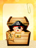 baby pirate in treasure chest