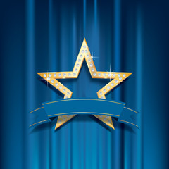 golden star blue banner