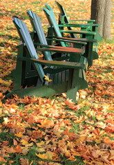 Green adirondack chairs on fallen leaves