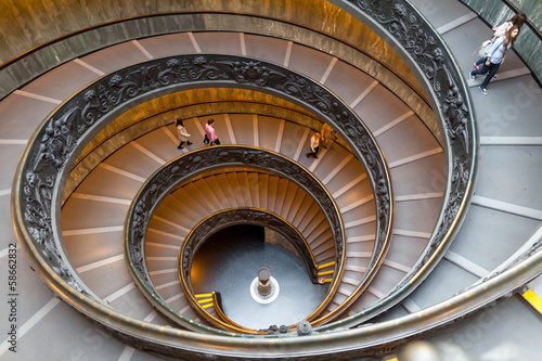 Fotobehang Rome Bramante Staircase, exit stairs from Vatican City