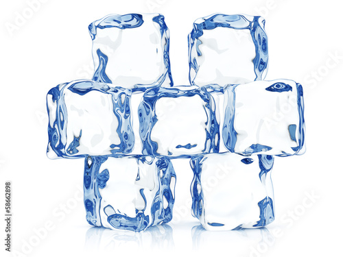Clear transparent ice blocks