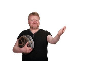 welcoming man,holding film reels