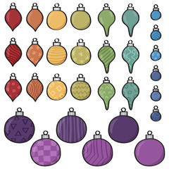 Set of 30 different Cartoon Baubles of various shapes and design