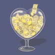 Glass money heart. Vector illustration.