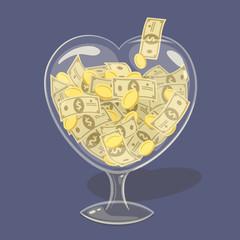 Glass money heart. Vector illustration.