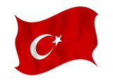 Flag o f Turkey on  a white background