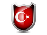 Glossy flag of Turkey on  a white background