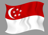 Flag of Singapore waving on a gray background