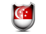 Glossy flag of Singapore metal shield on a white background