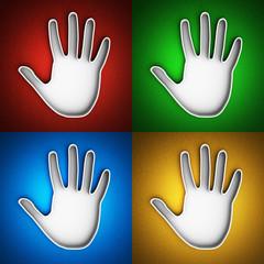 Hand print icon set