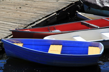 Red,white and blue rowboats