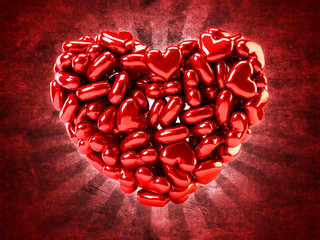 Illustration with small red hearts forming heart shape