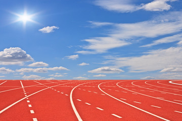 Running tracks and sky