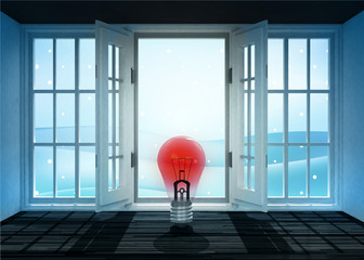 open doorway with red shiny bulb and winter landscape scene