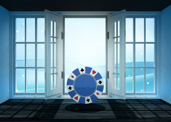 open doorway with poker chip and winter landscape scene behind