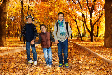 Three brothers in autumn park
