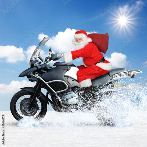 Leinwandbild Motiv Rasanter Santa