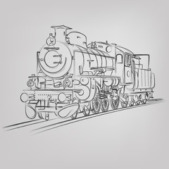 Vector sketched locomotive