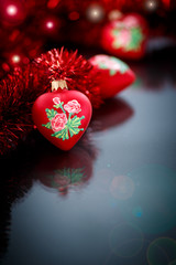 Christmas red hearts with red garland