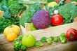 Fresh organic fruits and vegetables in a creates