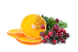 Christmas decoration with orange slices and red berry